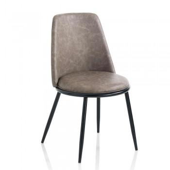 2 cadeiras de sala de jantar modernas em couro sintético e Matt Black Metal - Frizzi