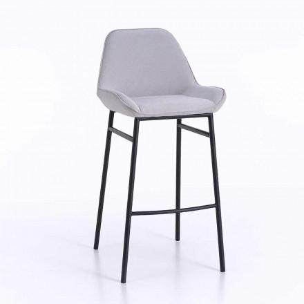 2 banquinhos modernos de metal com assento de couro de microfibra ou imitação - Bellino