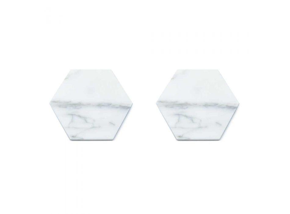 2 Bases para copos hexagonais em mármore branco, preto ou verde fabricadas na Itália - Paulo