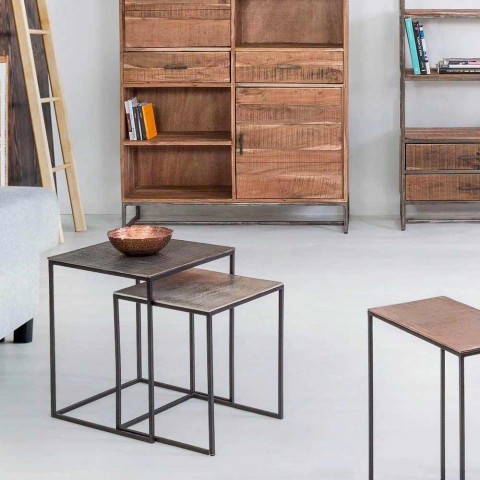 2 Mesas de Centro de Alumínio e Aço Pintado Homemotion - Sereno