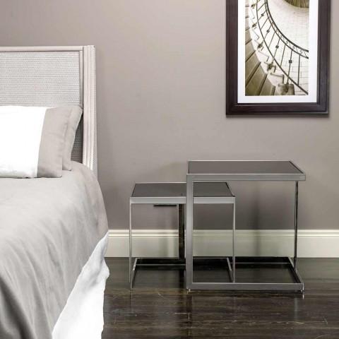 2 mesas de centro de design moderno em aço com tampo de vidro Bubbi