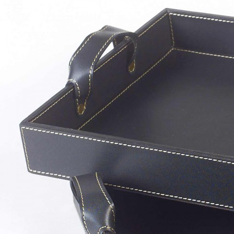2 bandejas de design em couro preto 41x28x5cm e 45x32x6cm Anastasia