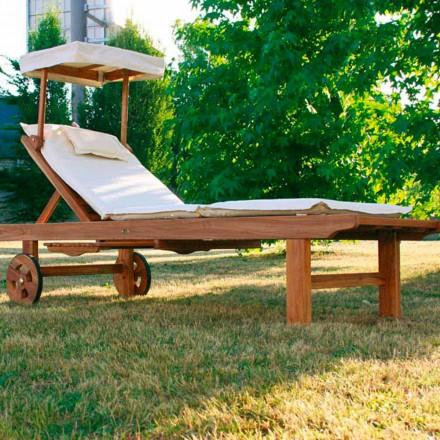 Espreguiçadeira dobrável moderna para exterior feita de madeira de teca
