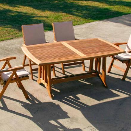 Mesa extensível ao ar livre feita de madeira de teca Amalfi