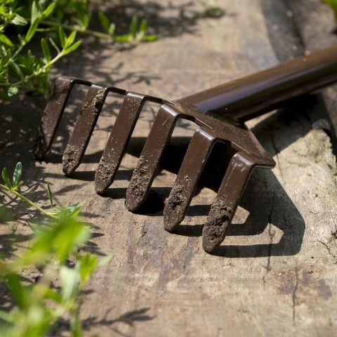 3 ferramentas de jardinagem de metal com base de madeira feitas na Itália - jardim