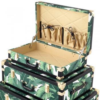 3 troncos de design em Mdf e tecido com detalhes de efeito couro preto - Amazônia