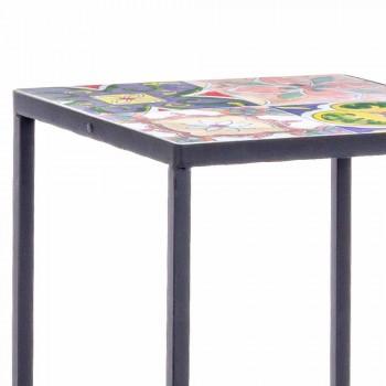 3 mesas quadradas de jardim em aço com decorações - Enchanting