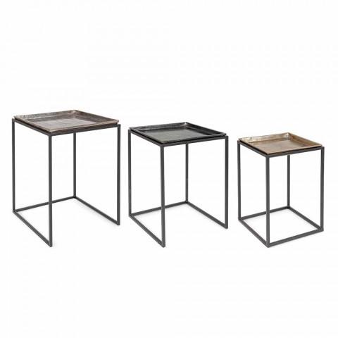 3 Mesinhas Quadradas em Alumínio e Aço Homemotion - Quinzio