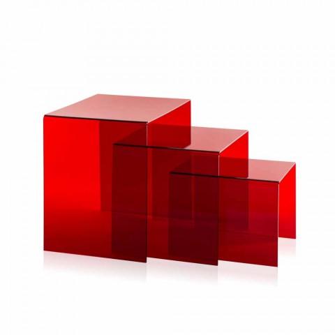3 mesa ajustável vermelho Amalia, design moderno, feito na Itália