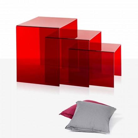 3 mesa de centro empilhável em plexiglass vermelho Amalia, fabricada na Itália