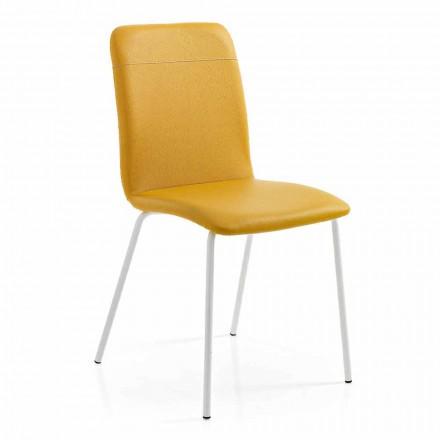 4 cadeiras de cozinha ou sala de estar em ecoleather colorido e design de metal - Hermione