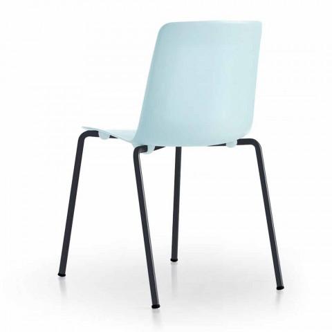 4 cadeiras exteriores empilháveis em metal e polipropileno fabricadas na Itália - Carita