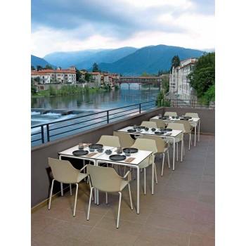 4 cadeiras exteriores empilháveis em polipropileno e metal fabricadas na Itália - Carlene