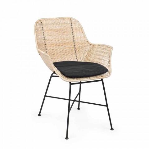 4 Cadeiras Ar Livre em Vime Tecido e Aço Homemotion - Berecca