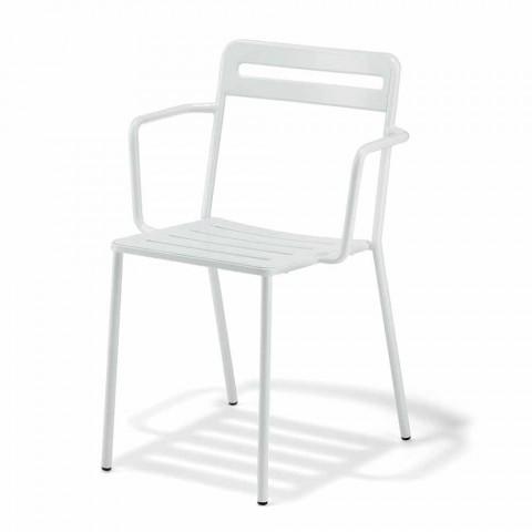 4 cadeiras de metal empilháveis para exteriores fabricadas na Itália - Yolonda