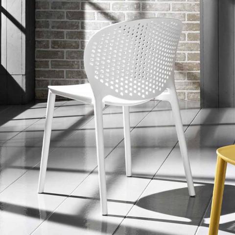 4 cadeiras de polipropileno coloridas empilháveis de design moderno - Pocahontas