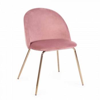 4 Cadeiras Design Estofadas em Veludo com Estrutura de Aço Homemotion - Dania