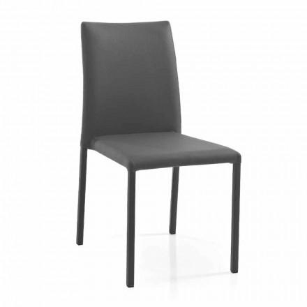 4 cadeiras de design moderno e elegante em couro ecológico colorido para sala de estar - Grenger