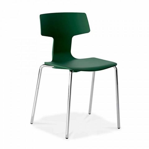4 cadeiras empilháveis em metal e polipropileno fabricadas na Itália - Clarinda