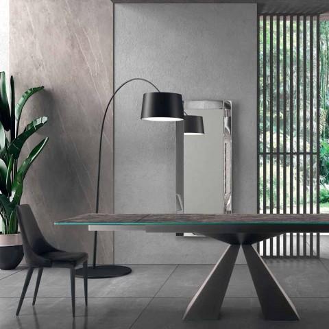 4 cadeiras de aço modernas com assento estofado de veludo made in Italy - Nirvana