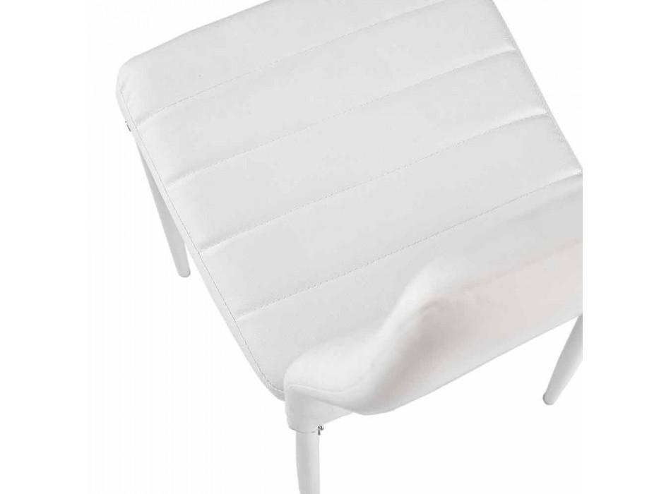 4 Cadeiras de Sala de Jantar Modernas em Couro Imitado e Pernas de Metal - Spiga