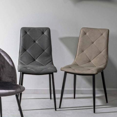 4 Cadeiras Modernas Revestidas em Couro com Base de Aço Homemotion - Daisa