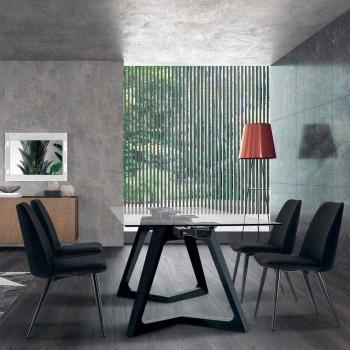 4 cadeiras estofadas para sala de jantar estofadas em veludo made in Italy - grãos