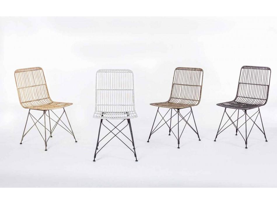 4 Cadeiras de Sala de Jantar em Aço e Tecido Kubu Homemotion - Kendall