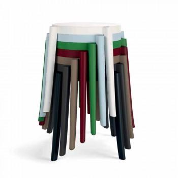 Design de 4 bancos empilháveis para exteriores em polipropileno fabricado na Itália - Anona
