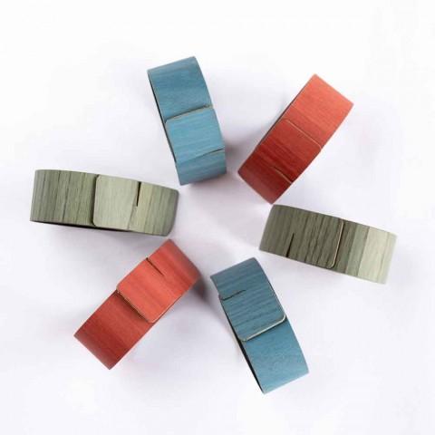 6 anéis de guardanapo de design em cores sortidas feitos na Itália - penico