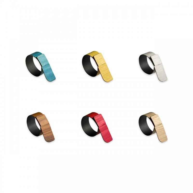 6 anéis de guardanapo em madeira e tecido modernos feitos na Itália - penico