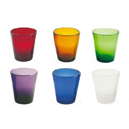 Serviço de artesanato de água de 12 copos de vidro soprado colorido - Yucatan