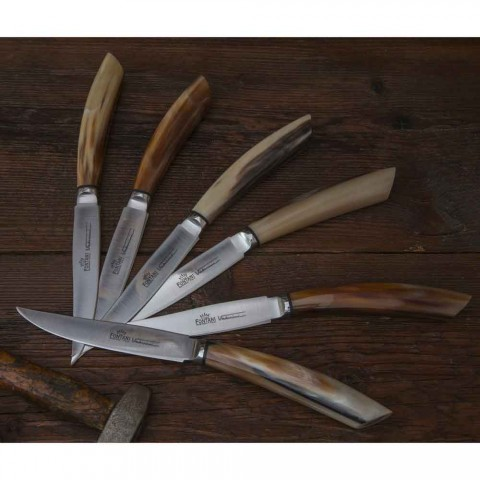 6 facas de cozinha artesanais com cabo de chifre de boi fabricadas na Itália - marinha