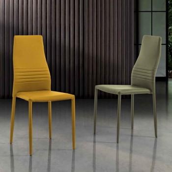 6 cadeiras empilháveis em eco-couro colorido design moderno para sala de estar - Mérida
