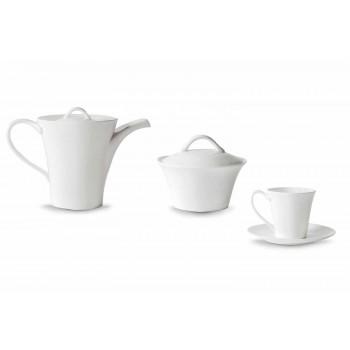 6 xícaras de café em porcelana com prato, cafeteira e açucareiro - Romilda