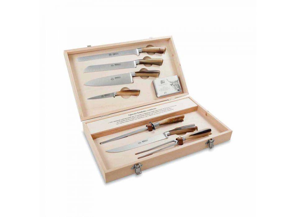 7 facas de mesa em inox Berti exclusivamente para Viadurini - Sanzio