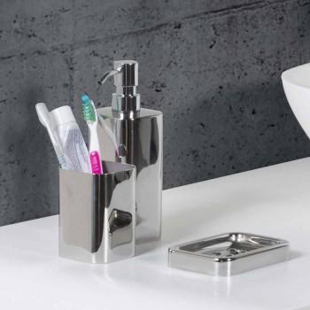 Acessórios de banheiro independentes em acabamento cromado de aço inoxidável - brilhante
