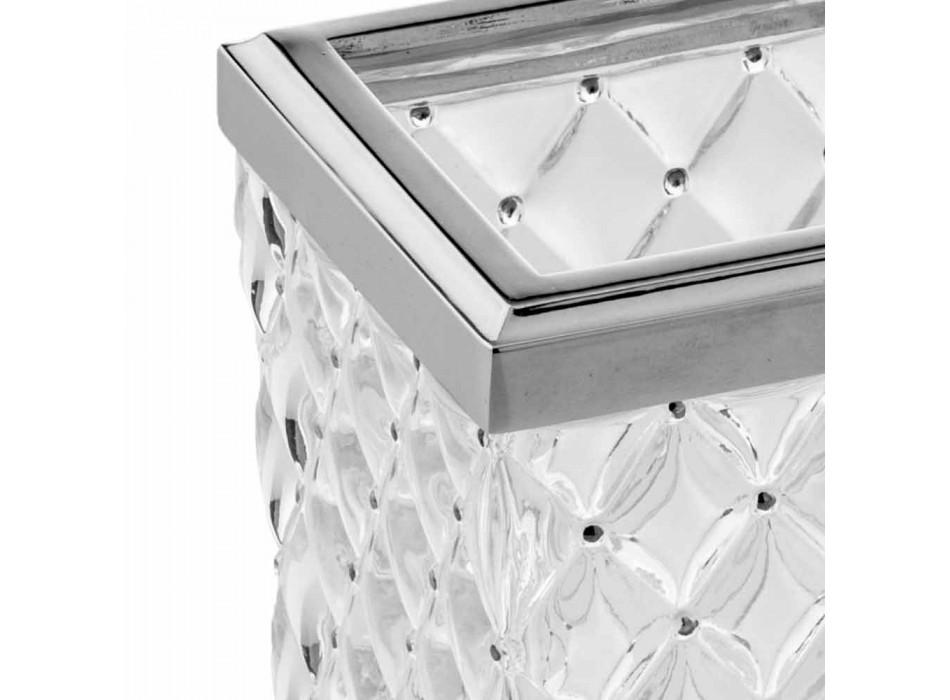 Acessórios para banheiro autônomo em cristal e metal Capitonnè - prata