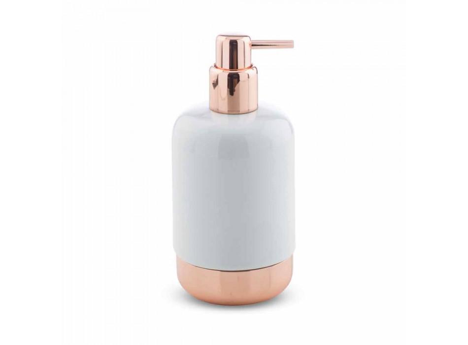 Acessórios para banheiro autônomo em porcelana branca com detalhes em cobre - Scampia