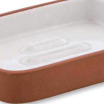 Acessórios para banheiro autônomo em terracota e cerâmica branca - terracota