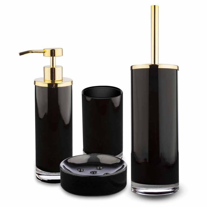 Acessórios para banheiro autônomo em vidro preto e metal dourado brilhante - preto