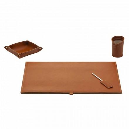 Acessórios para mesa de design em couro colado, 4 peças - Aristóteles