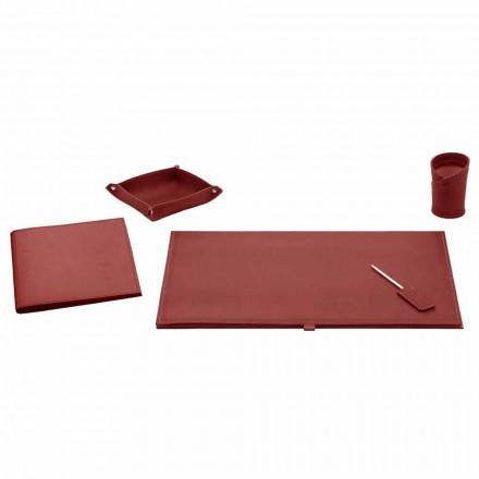 Acessórios de escritório para mesa em couro colado, 5 peças - Aristóteles