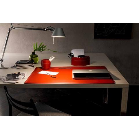 Acessórios de mesa de couro regenerado de 4 peças fabricados na Itália - Ebe