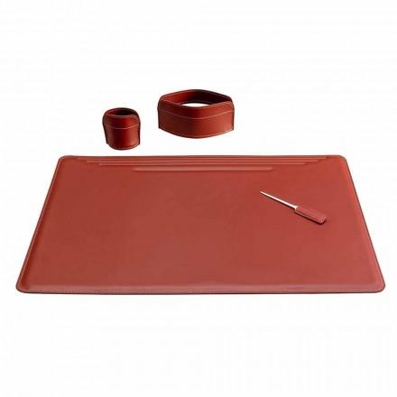 Acessórios para mesa de escritório em couro, 4 peças, fabricados na Itália - Ebe