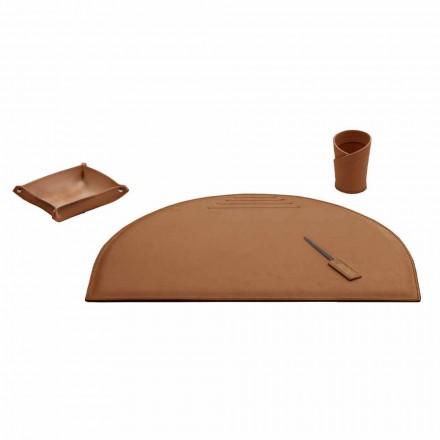 Acessórios de escritório para mesa em couro regenerado, fabricados na Itália - Medea