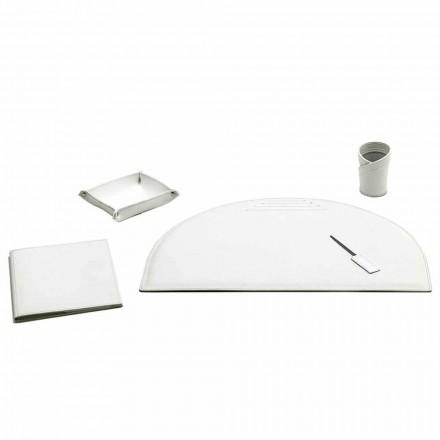 Conjunto de 5 acessórios para mesa de escritório em couro, fabricados na Itália - Medea