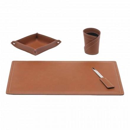 Mesa de couro regenerado, 4 peças, fabricada na Itália - Ascanio