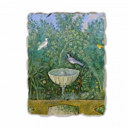 Fonte e pássaro (detalhe), arte romana, afresco pintado à mão