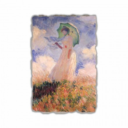 Mulher com um guarda-sol, virado para a esquerda por Claude Monet